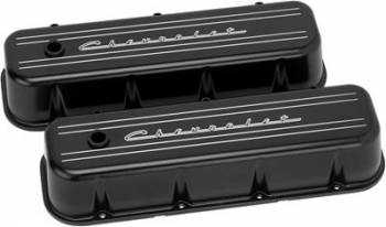 Billet Specialties - Billet Specialties BB Chevy Tall Valve Cover Chevrolet Script Black
