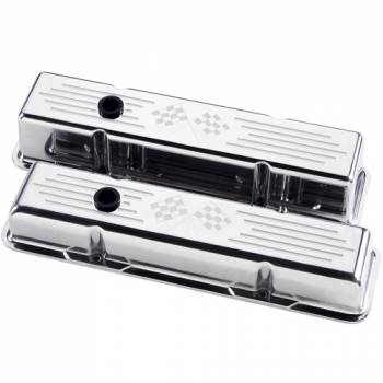 Billet Specialties - Billet Specialties Polished SB Chevy Tall Valve Covers - Cross Flags Logo - SB Chevy - (Set of 2)