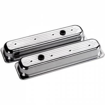 Billet Specialties - Billet Specialties SB Chevy Centerbolt Stock Height Valve Covers - Ball-Milled Logo - SB Chevy - (Set of 2)