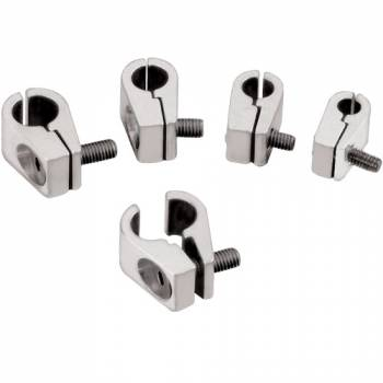 Billet Specialties - Billet Specialties Line Clamps - 1/4 in. - Polished - One .250 in. Diameter Hole - (Set of 4)