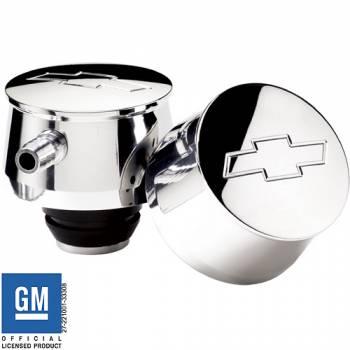 Billet Specialties - Billet Specialties Bowtie PCV Breather - Push-In - Round - Polished - Bowtie Emblem