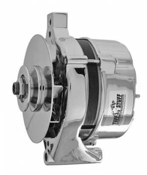 Tuff Stuff Performance - Tuff Stuff Ford Alternator 100 Amp Chrome 1 Wire 1 Groove Pulley