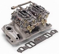 Edelbrock - Edelbrock RPM Air-Gap Dual-Quad Intake Manifold / Carburetor Kit - Cast Finish