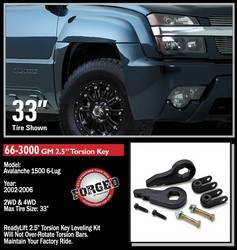 ReadyLift - ReadyLift 2.5 in. Front Leveling Kit - Forged Torsion Keys Allows Up To 33 in. Tire