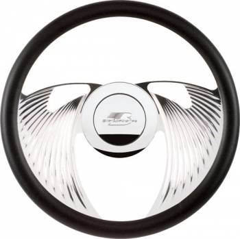 Billet Specialties - Billet Specialties Half Wrap Steering Wheel - Eagle - Polished - 2-Spoke - Fluted - 14 in. Diameter