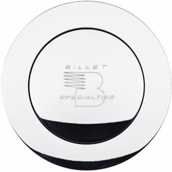 Billet Specialties - Billet Specialties Polished Horn Button - Large - Billet Specialties Logo - Fits Billet Specialties - Lecarra