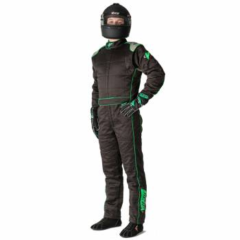 Velocity Race Gear - Velocity 5 Race Suit Safety Package - Black/Fluo Green