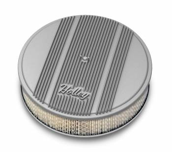 """Holley Performance Products - Holley 14""""x3"""" Round Finned Air Cleaner - Paper Element - Natural"""