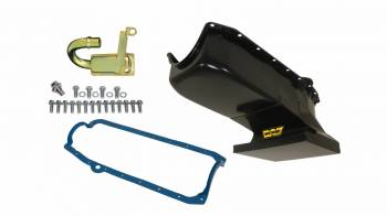 Weiand - Weiand Fabricated Oil Pan Kit - 6 Quart - Black - 62-67 Chevy II w/ 58/79 SB Chevy - Drag