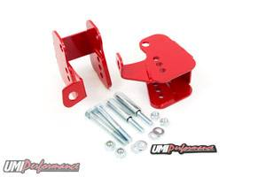 UMI Performance - UMI Performance 1982-2002 GM F-Body Lower Control Arm Relocation Brackets - Bolt-In - Red