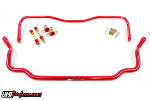 UMI Performance - UMI Performance 1964-1972 GM A-Body Solid Front and Rear Sway Bar Kit - Red