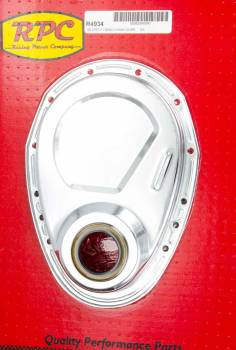 Racing Power - Racing Power Co-Packaged SBC Steel Timing Chain Cover Chrome