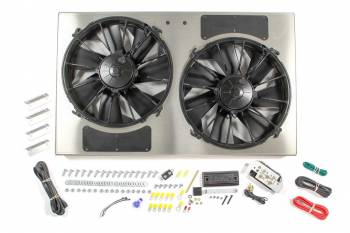 "Derale Performance - Derale High Output Dual 12"" Electric RAD Fan/Aluminum Shroud w/ Built-in PWM Controller - 28-1/4""W x 17""H x 4""D"