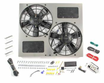 "Derale Performance - Derale High Output Dual 11"" Electric RAD Fan/Aluminum Shroud w/ Built-in PWM Controller - 22-1/2""W x 19""H x 4-1/2""D"