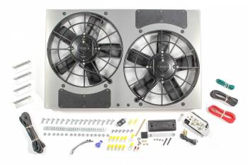 "Derale Performance - Derale High Output Dual 11"" Electric RAD Fan/Aluminum Shroud w/ Built-in PWM Controller - 24""W x 15-1/2""H x 4-1/2""D"
