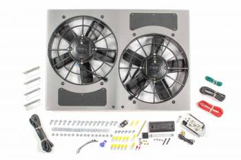 "Derale Performance - Derale High Output Dual 11"" Electric RAD Fan/Aluminum Shroud w/ Built-in PWM Controller - 24""W x 17""H x 4-1/2""D"