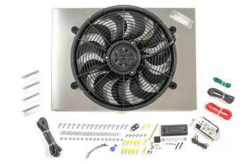 "Derale Performance - Derale High Output Single 17"" Electric RAD Fan/Aluminum Shroud Kit w/ Built-in PWM Controller - 24""W x 17""H x 3""D"