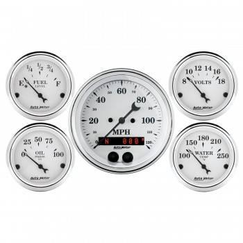 Auto Meter - Auto Meter Old Tyme White Gauge Kit - w/GPS Speedometer