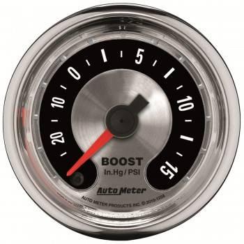 "Auto Meter - Auto Meter 2-1/16"" American Muscle Boost Gauge -30"" HG/15 PS"
