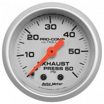 """Auto Meter - Auto Meter 2-1/16"""" Exhaust Pressure Gauge - 0-60 PSI - Ultra-Lite"""