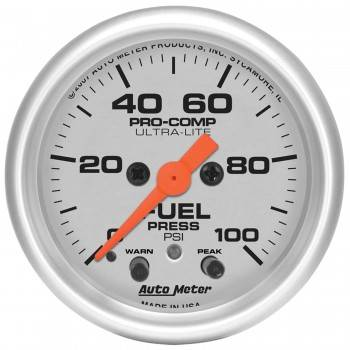 "Auto Meter - Auto Meter 2-1/16"" Ultra-Lite Fuel Press Gauge - 0-100 PSI"