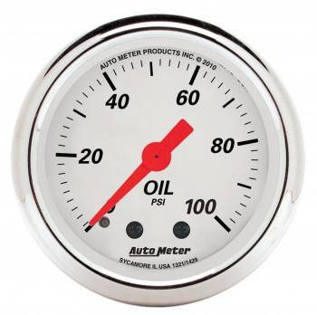 """Auto Meter - Auto Meter 2-1/16"""" Artic White Oil Pressure Gauge - 0-100 PSI"""