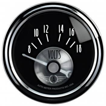 "Auto Meter - Auto Meter 2-1/16"" Voltmeter 8-18 Volt - Prestige Black Diamond"