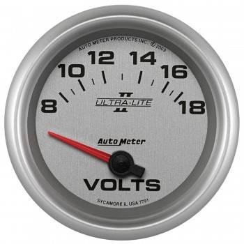 """Auto Meter - Auto Meter 2-5/8"""" Ultra-Lite II Voltmeter Gauge - 8-18 Volts"""