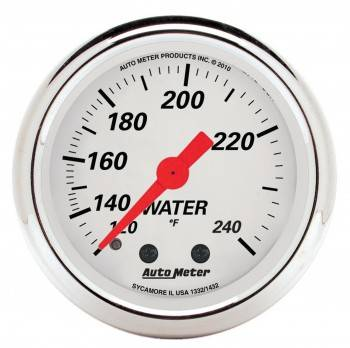 "Auto Meter - Auto Meter 2-1/16"" Artic White Water Temp Gauge - 120-240°"