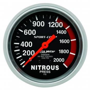 Auto Meter - Auto Meter Sport-Comp Mechanical Nitrous Pressure Gauge - 2-5/8 in.