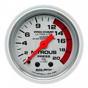 Auto Meter - Auto Meter Ultra-Lite Mechanical Nitrous Pressure Gauge - 2-1/16 in.