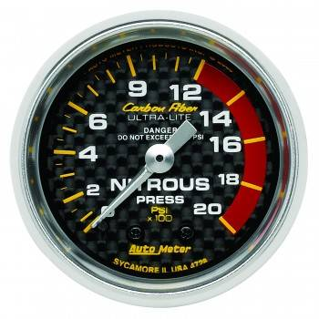 Auto Meter - Auto Meter Carbon Fiber Mechanical Nitrous Pressure Gauge - 2-1/16 in.