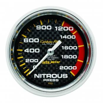Auto Meter - Auto Meter Carbon Fiber Mechanical Nitrous Pressure Gauge - 2-5/8 in.