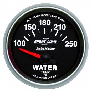 "Auto Meter - Auto Meter 2-1/16"" Sport-Comp II Electric Water Temperature Gauge - 100-250°"
