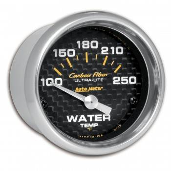"Auto Meter - Auto Meter Carbon Fiber Electric Water Temperature Gauge - 2-1/16"" - 100°-250° F"