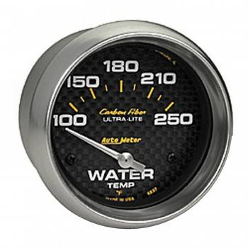 "Auto Meter - Auto Meter Carbon Fiber Electric Water Temperature Gauge - 2-5/8"" - 100°-250° F"