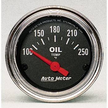 Auto Meter - Auto Meter Traditional Chrome Electric Oil Temperature Gauge - 2-1/16""