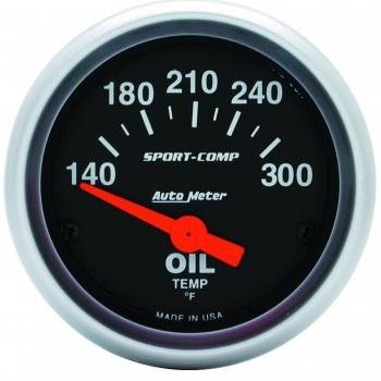 "Auto Meter - Auto Meter 2-1/16"" Sport-Comp Oil Temperature Gauge - 140-300 PSI"