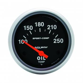 "Auto Meter - Auto Meter Sport-Comp Electric Oil Temperature Gauge - 2-5/8"" - 100°-250°"