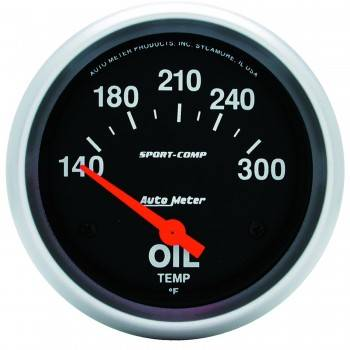 "Auto Meter - Auto Meter Sport-Comp Electric Oil Temperature Gauge - 2-5/8"" - 140°-300°"