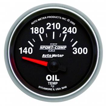 "Auto Meter - Auto Meter 2-1/16"" Sport-Comp II Electric Oil Temperature Gauge - 140-300°"
