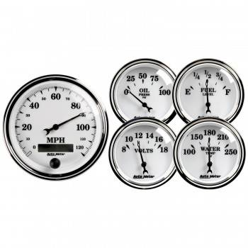 Auto Meter - Auto Meter Old Tyme White II Street Rod Kit - 2-1/16 in.