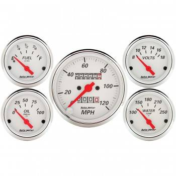 Auto Meter - Auto Meter Arctic White Street Rod Kit - Includes 3-1/8 in. 120 MPH Mechanical Speedometer