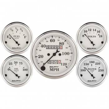 Auto Meter - Auto Meter Old Tyme White Street Rod Kit - Includes 3-1/8 in. 120 MPH Mechanical Speedometer