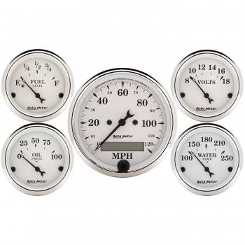 Auto Meter - Auto Meter Old Tyme White Street Rod Kit - Includes 3-1/8 in. 120 MPH Electric Speedometer
