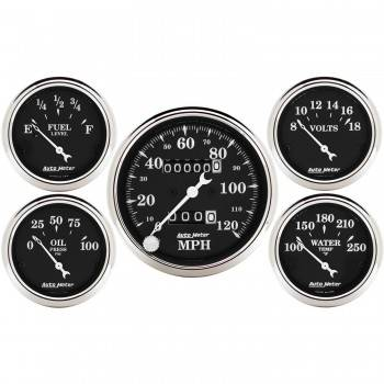Auto Meter - Auto Meter Old Tyme Black Street Rod Kit - Includes 3-1/8 in. 120 MPH Mechanical Speedometer