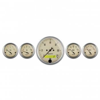 Auto Meter - Auto Meter Antique Beige Street Rod Kit - Includes 3-1/8 in. 120 MPH Electric Speedometer