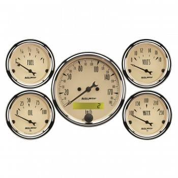 Auto Meter - Auto Meter A/B 5 Piece Gauge Kit w/ Electric Speedometer- Metric