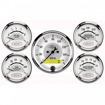 Auto Meter - Auto Meter Ford Racing Series 5 Gauge Set - Fuel/Oil/Speedo/Volt/Water 5 in.