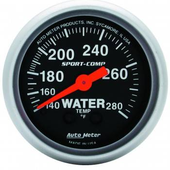 "Auto Meter - Auto Meter 2-1/16"" Mini Sport-Comp Electric Water Temperature Gauge - 140°-280°"